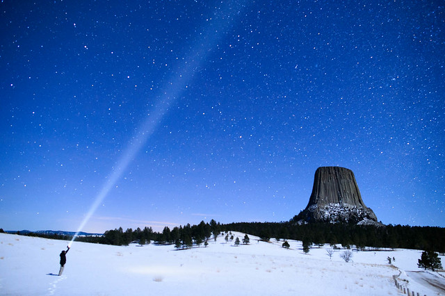 Devil's Tower Night Beams