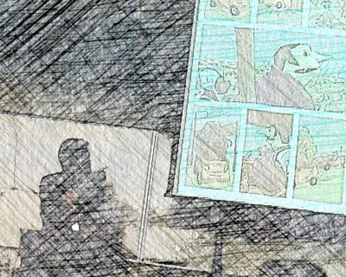 Comic artist in silhouette (Kody Chamberlain)