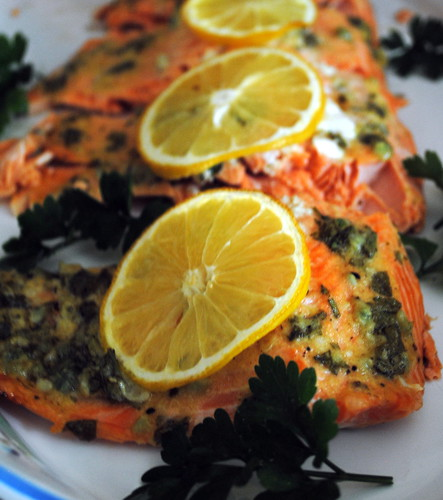 Baked Salmon with Garlic & Dijon