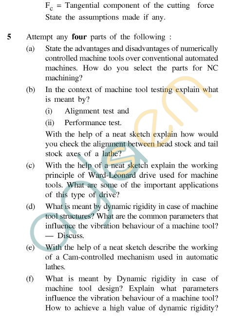 UPTU B.Tech Question Papers - TPI-603 - Principles of Machine Tool Design