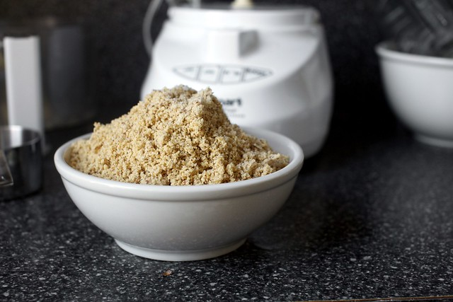 ground hazelnuts with sugar and salt