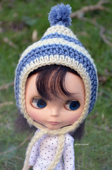 Striped Blue and Cream Pixie Hat