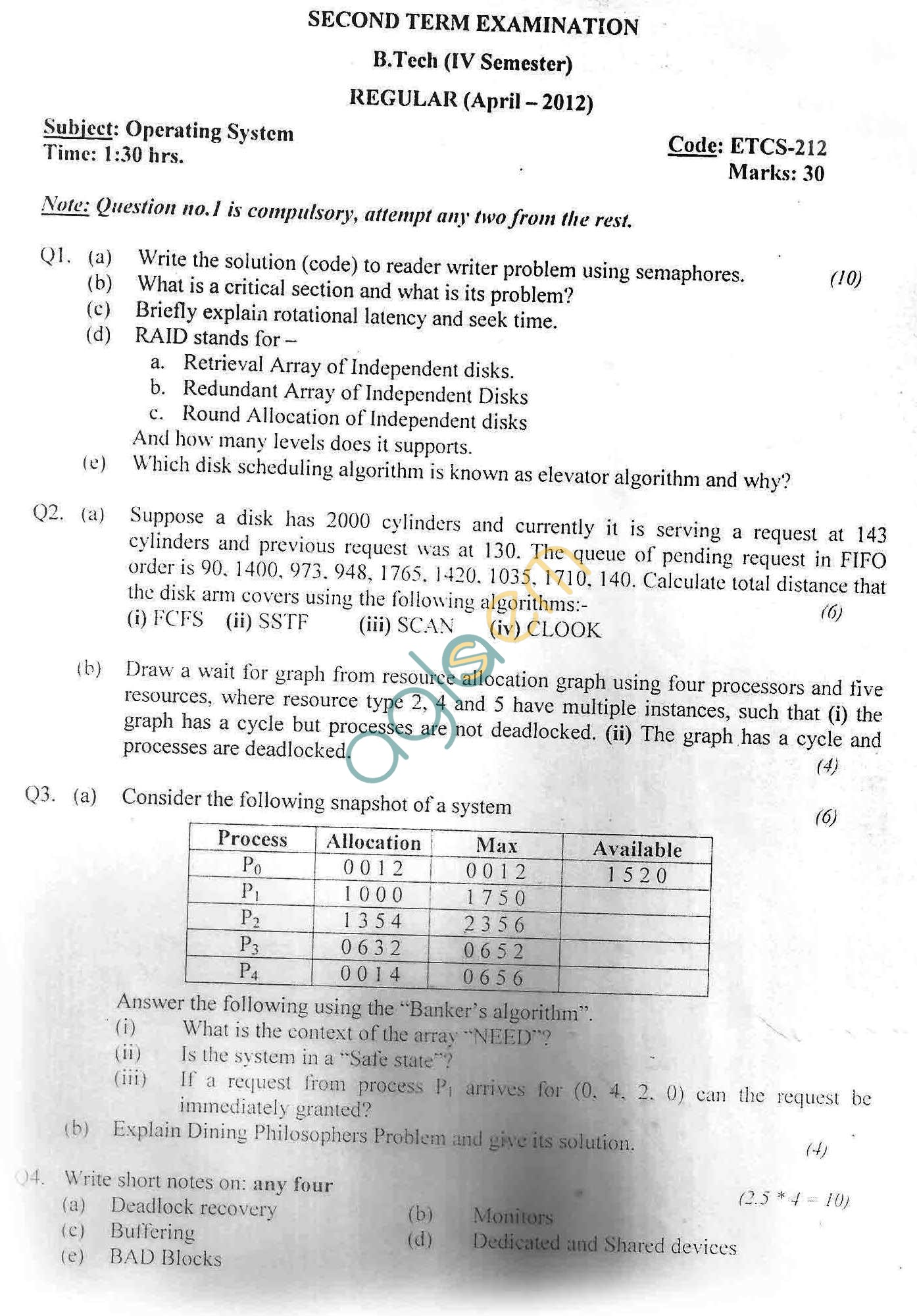 GGSIPU Question Papers Fourth Semester – Second Term 2012 – ETCS-212