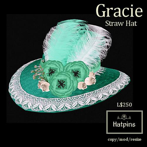 Hatpins - Gracie Straw Hat - Minty