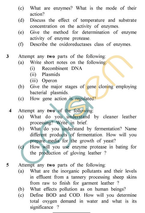 UPTU: B.Tech Question Papers - TLT-601 - Leather Biotechnology