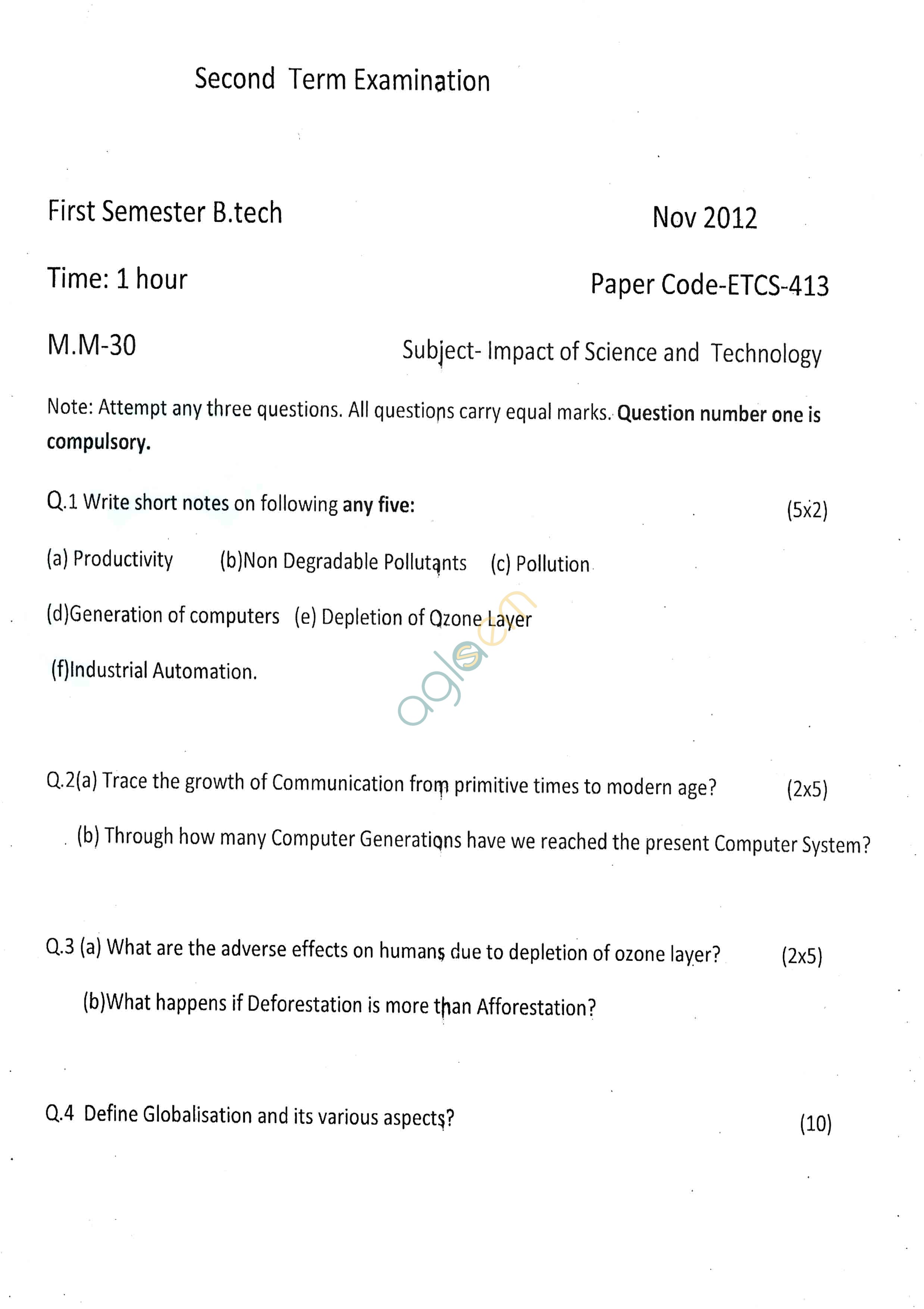 GGSIPU: Question Papers First Semester – Second Term 2012 – ETCS-413