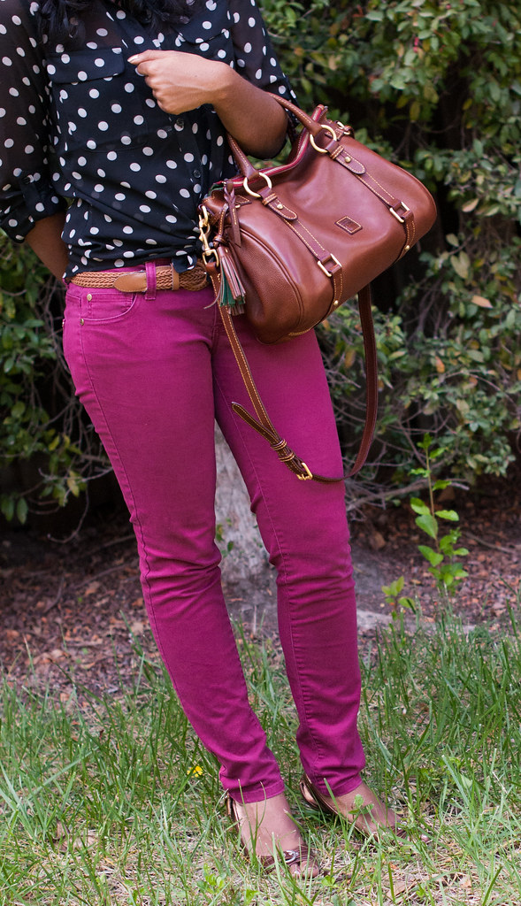 Brightening up Neutral Polka Dots with Colored Jeans