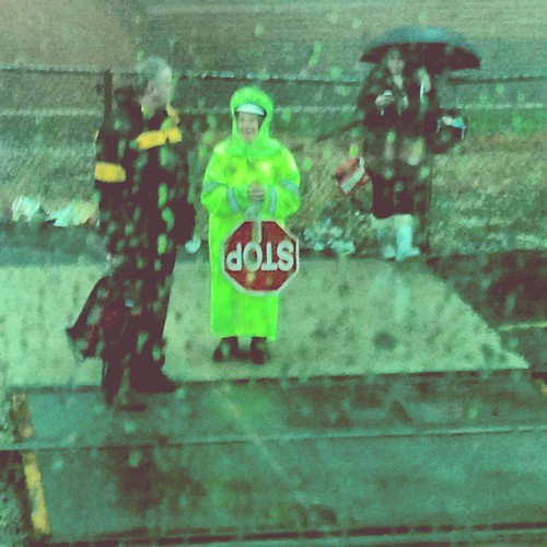 """Seeing this """"neon nun"""" crossing guard during my commute made the three hours it took me to get here almost worth it."""