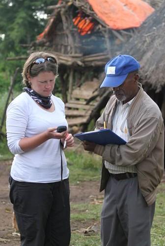Chicken health team member at work in Ethiopia