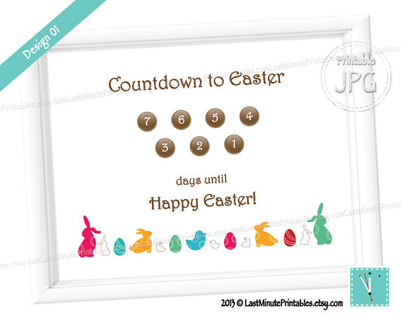 USD 2.99, Easter Advent Calendar Countdown egg white rabbit printable prop sign clipart bunny pattern baby boy bucket gift chick blocks basket toy