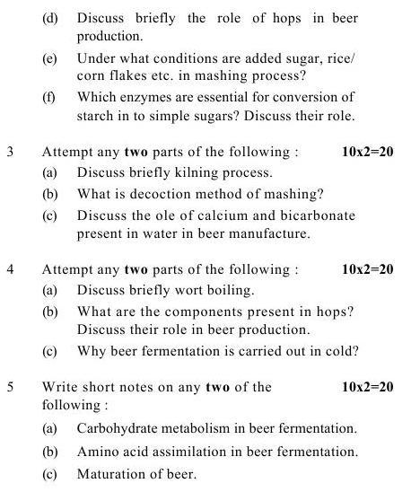 UPTU B.Tech Question Papers -AL-011- Brewing Technology