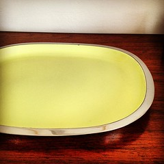 Vintage Lundtofte Stainless Steel and Enamel Serving Tray.