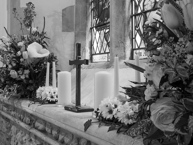 Fishbourne Church at Easter - in mono