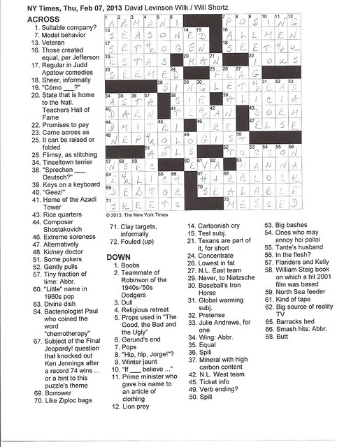 NYT Thursday Puzzle - February 7, 2013
