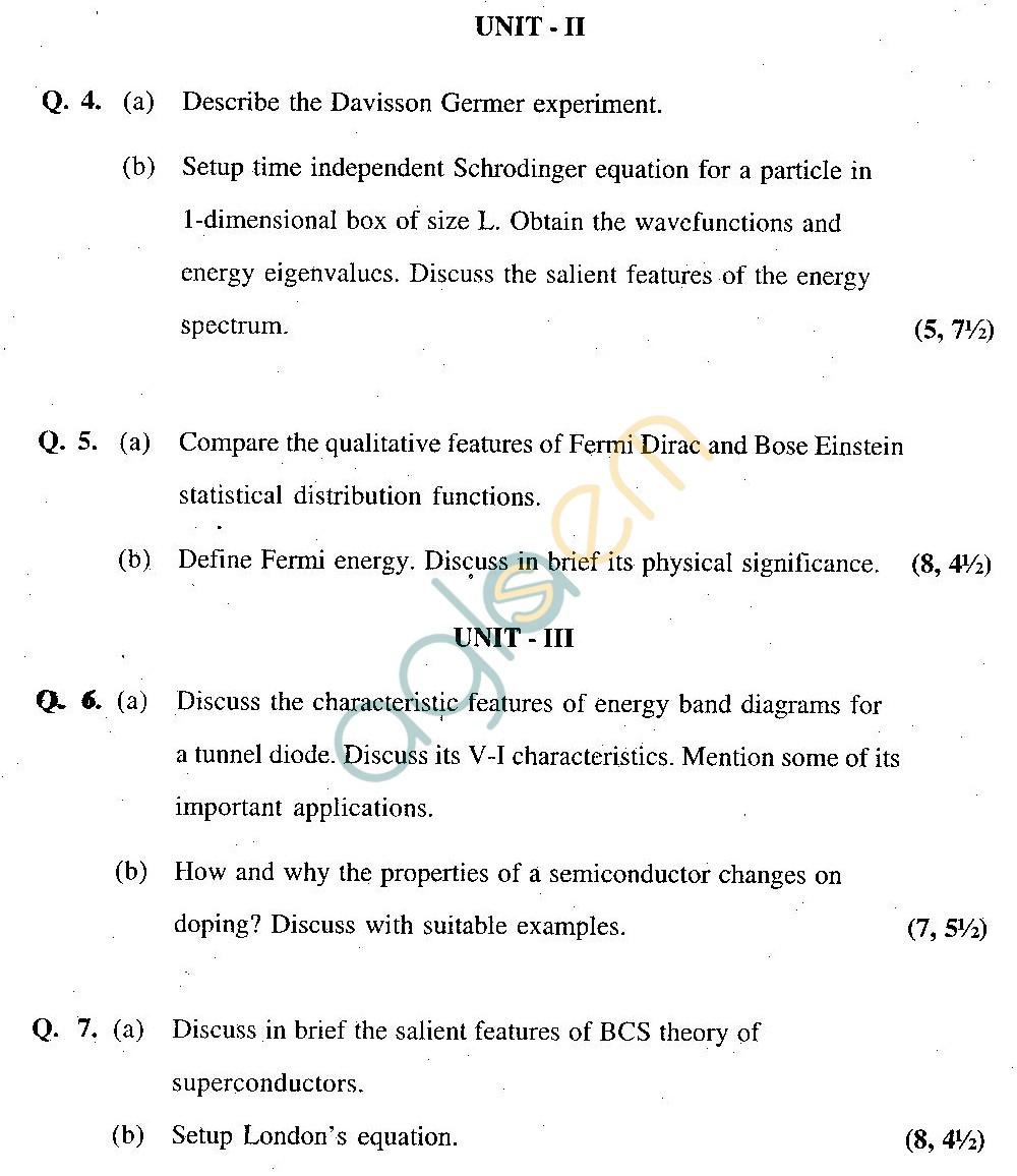 GGSIPU Question Papers Second Semester – end Term 2011 – ETPH -104