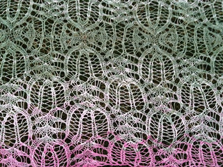 Blocked Frost Flowers Shawl