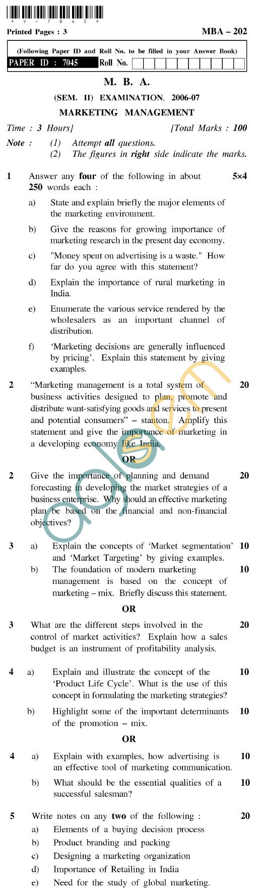 UPTU MBA Question Papers - MBA-202-Marketing Management