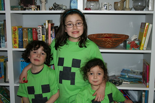 The kids showing off their new Creeper T's