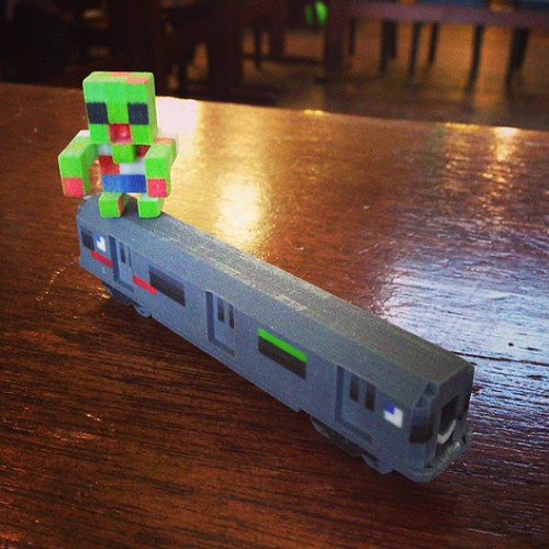 #bmm 3D printed train with little toy person on top by @mecubecom