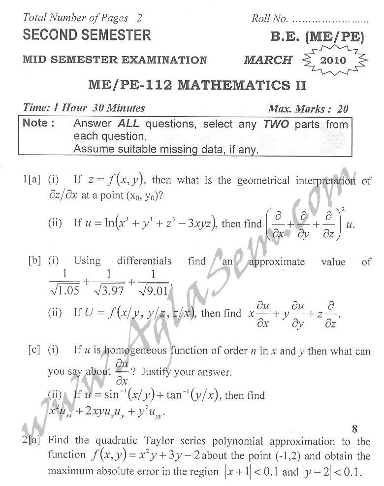 DTU Question Papers 2010 – 2 Semester - Mid Sem - ME/PE-112