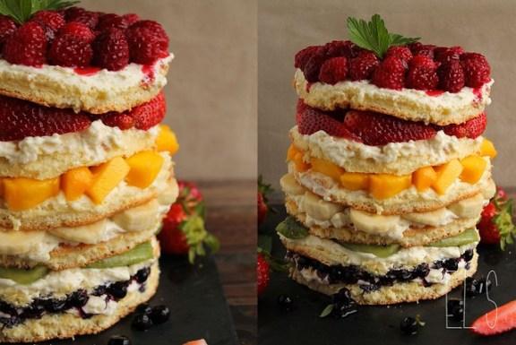 Rainbow cake aux fruits