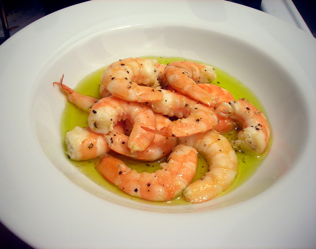 Poached shrimp, marinated in olive oil and lemon juice