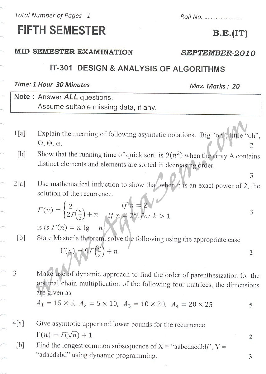 DTU Question Papers 2010 – 5 Semester - Mid Sem - IT-301