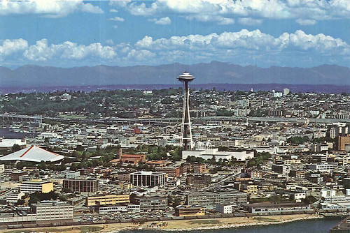 Space Needle and Seattle Center looking east by Seattle Municipal Archives