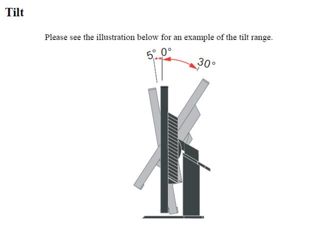 ThinkVision LT3053 Tilt Range