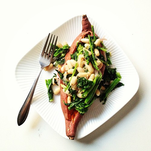 """My favorite """"lazy"""" meal. Baked sweet potato with greens and beans."""