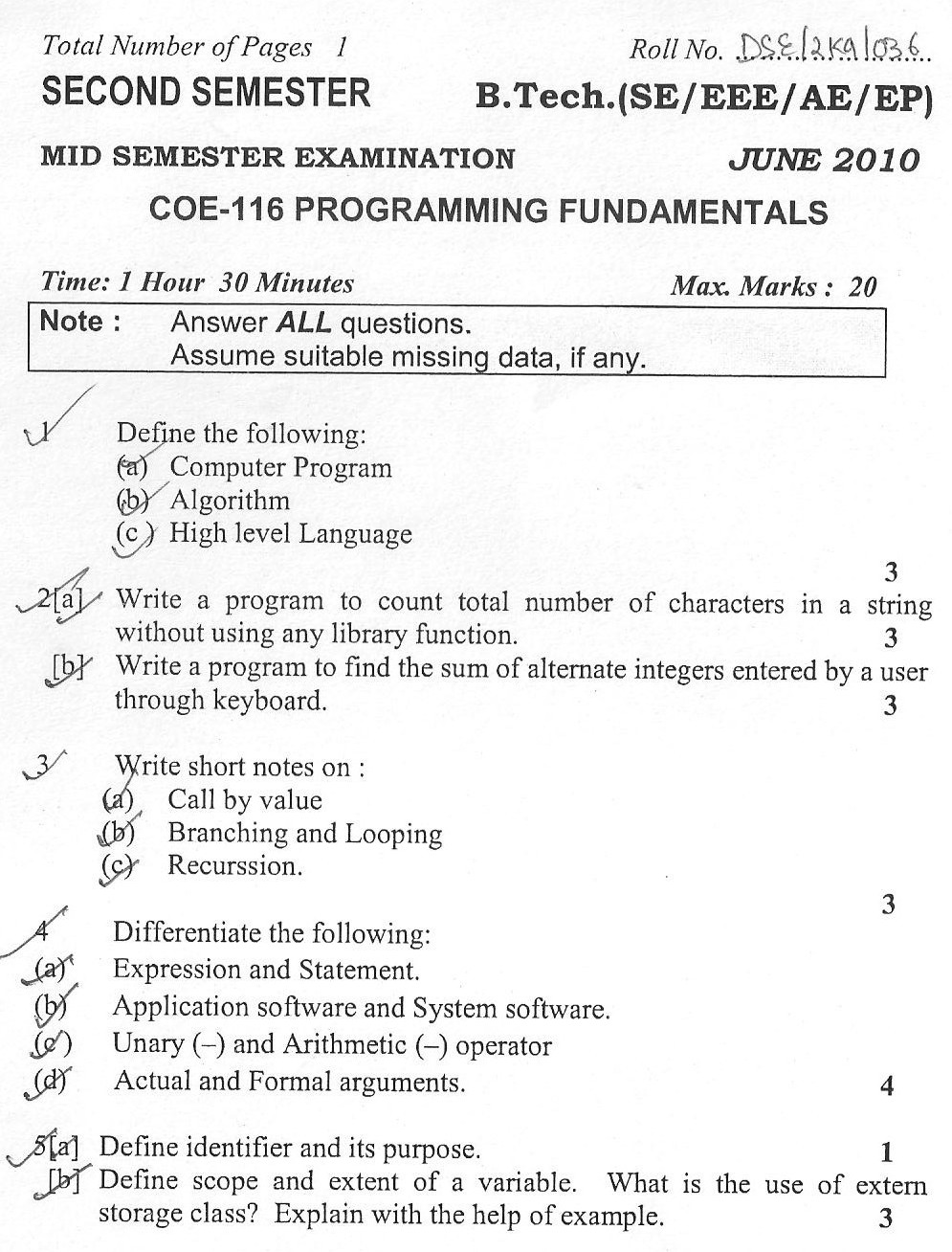 DTU Question Papers 2010 – 2 Semester - Mid Sem - COE-116