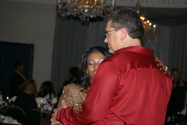 Anthony Beyer dancing with his wife