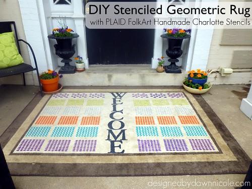 DIY Stenciled Geometric Rug with Handmade Charlotte Stencils #plaidstenciling