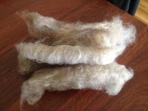 Hand carded Corriedale & raw silk