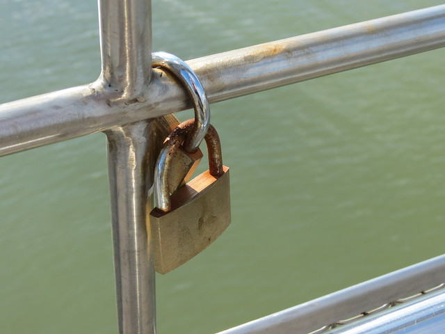 Love locks on Pero's Bridge