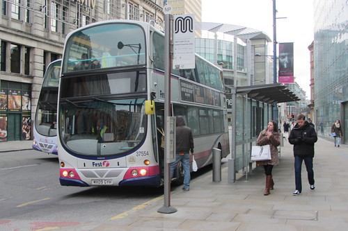 First Greater Manchester Volvo B9TL, MX09 GYH, Corporation Street (outside Printworks and URBIS), Manchester