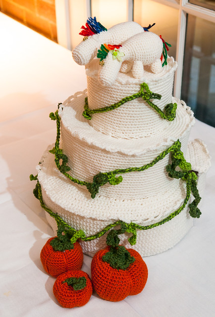 Crocheted Wedding Cake and Unicorn Toppers