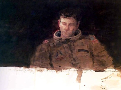 A painting showing astronaut John Young reflecting pensively.
