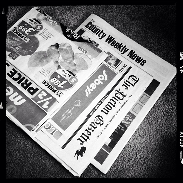 May 5 - paper {this week's papers ready for the recycle bin} #fmsphotoaday #paper #blackandwhite
