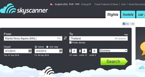 Skyscanner Philippines (Booking from Manila to Thailand)