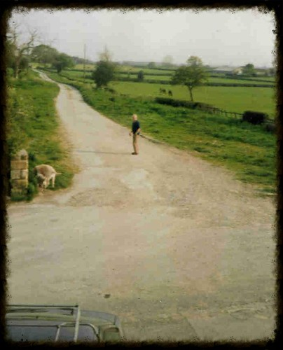 Photo of James Herriot (Dr. Alf Wight) taken outside our cottage