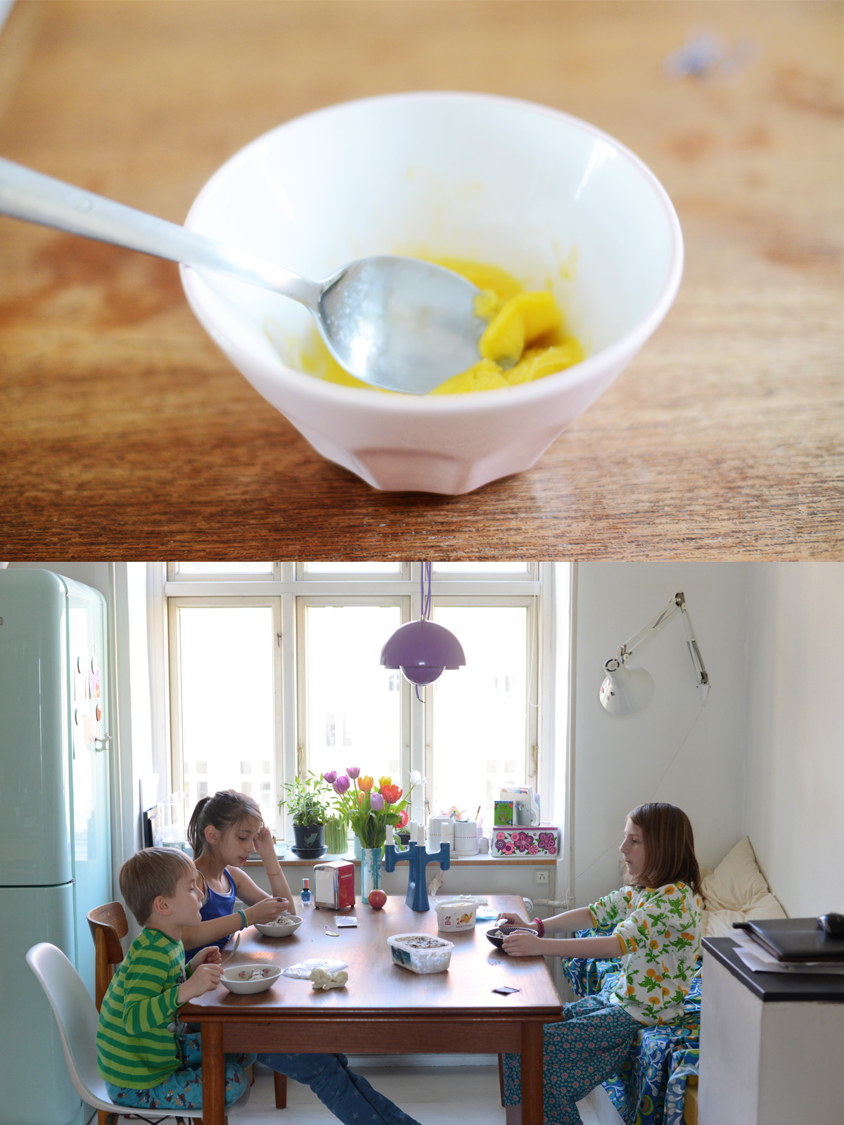 family life around the kitchentable and a bowl of mango icecream
