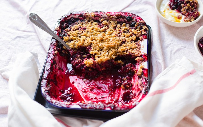 Blackberry Mint Crisp with Oat Cornmeal Crumble