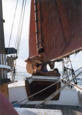 Dave Bricker on deck of Zebra Dun