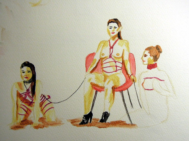 Color sketch of women in Japanese bondage ropes