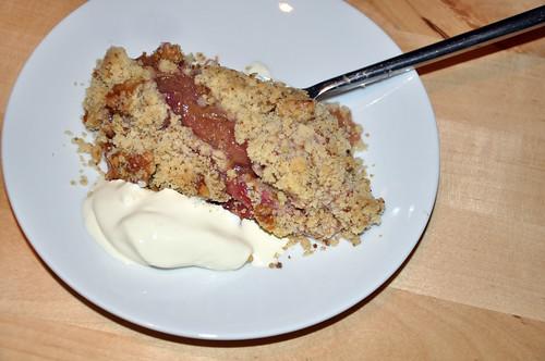 Rhubarb crumble served