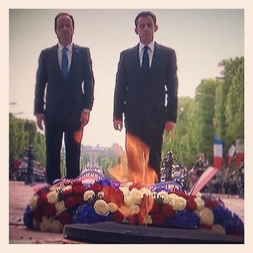 François Hollande et Nicolas Sarkozy réunis le 8 Mai 2012 (célébration du 67e anniversaire de la Victoire du 8 mai 1945) by Arash Derambarsh