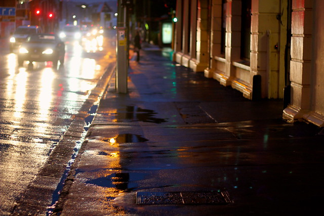 Tuesday: rain soaked streets