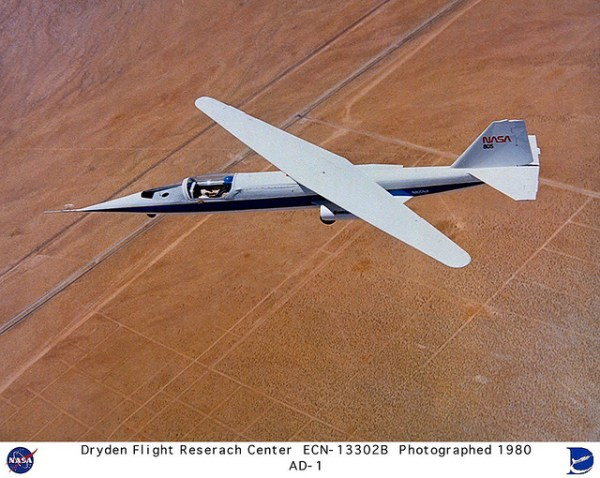 AD1 in flight with 60 degree wing sweep NASA photo