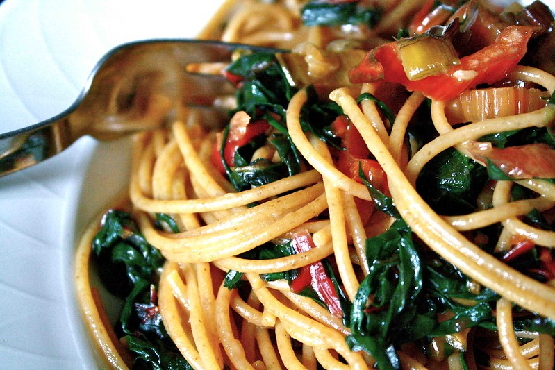 Spaghetti and swiss chard, detail